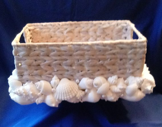 Natural Wicker Basket with White Shells