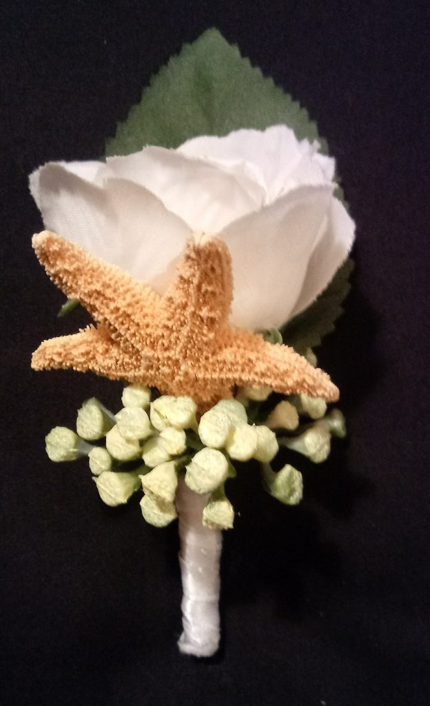 White Silk Rose Boutonniere with Star Fish