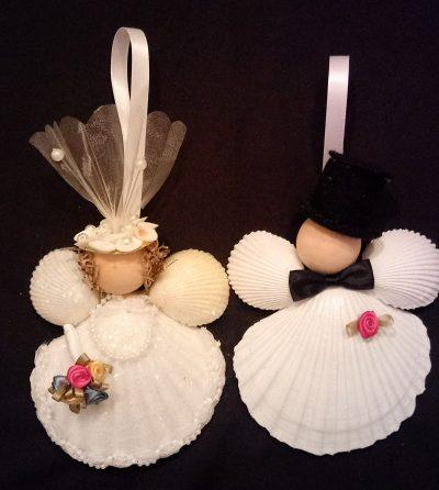 Bride & Groom Scallop Shell Ornaments