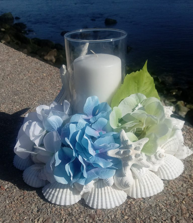 White Shell Wreath with Silk Flowers and Candle