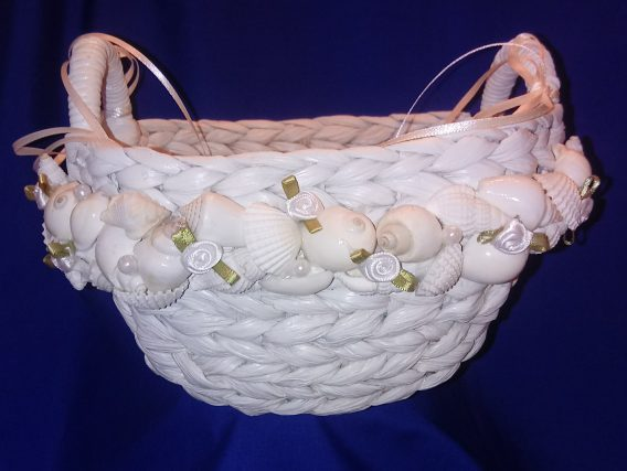 White Wicker Flower Girl Basket With Shells