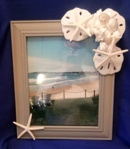 Beach Frame with White Shells, Sand Dollars and Star Fish