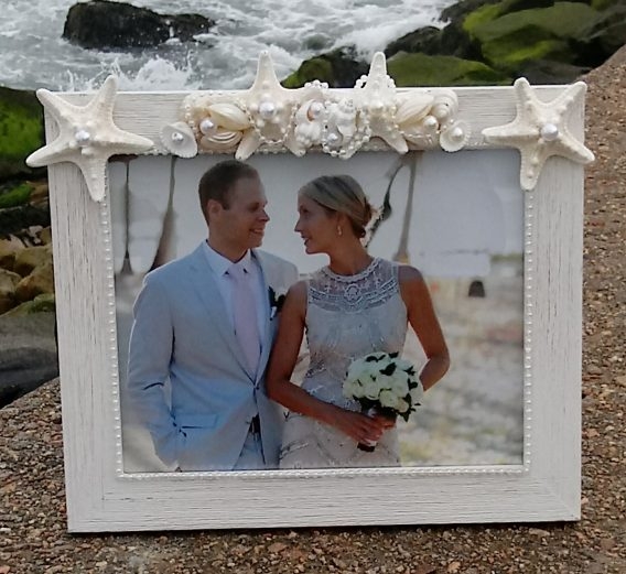 White Wooden Frame with Shells