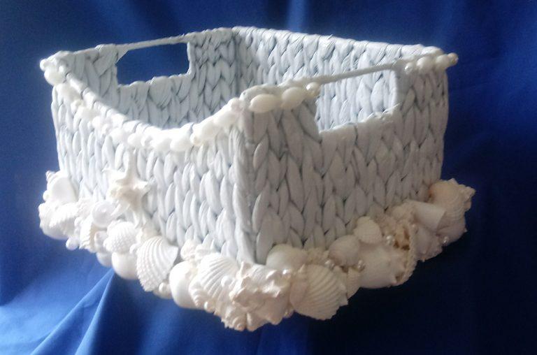 Sea Grass Amenities Basket with Shells