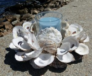Oyster Shell Wreath with Candle