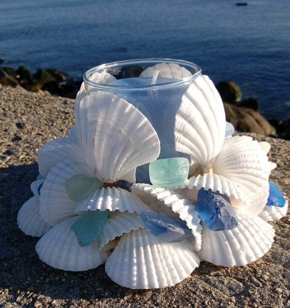Sea Glass And Shell Centerpiece