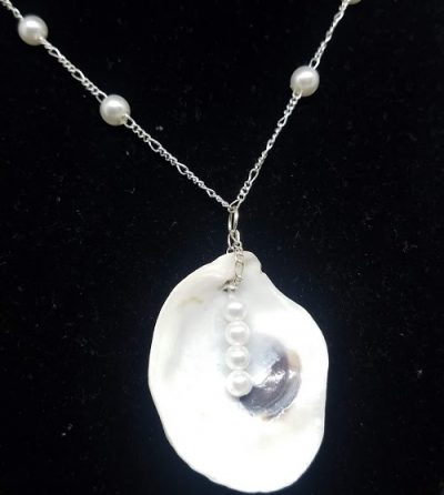 Oyster Necklace on Sterling and Pearl Chain
