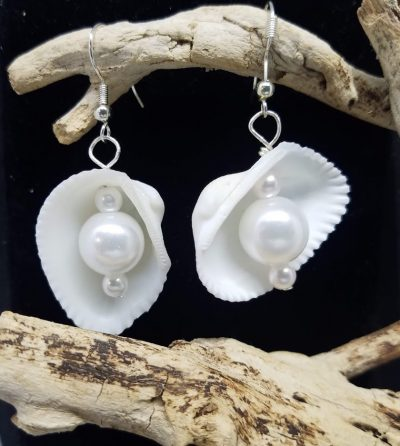 White Shell and Pearl Earrings with Silver Wire