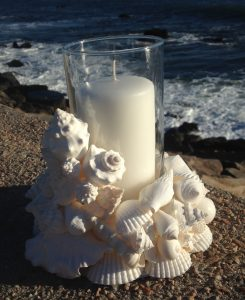 White Shell Wreath and Candle