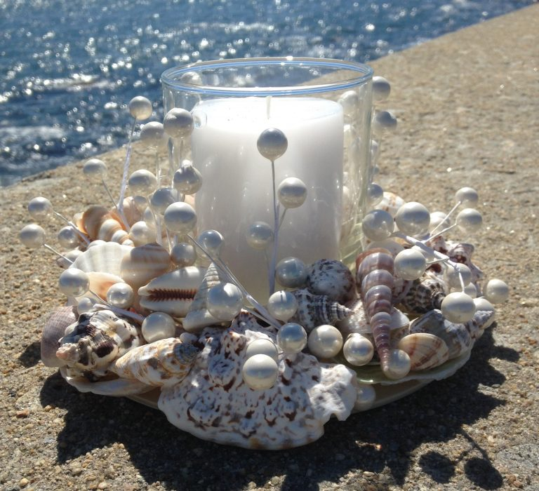 Assorted Shell Wreath with Beads and Candle