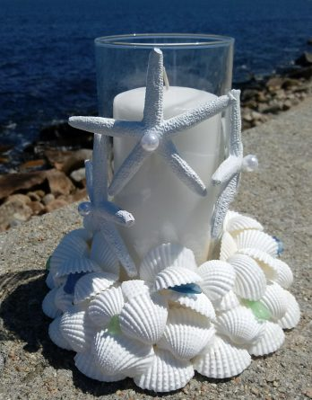 White Shell Wreath with Starfish and Candle