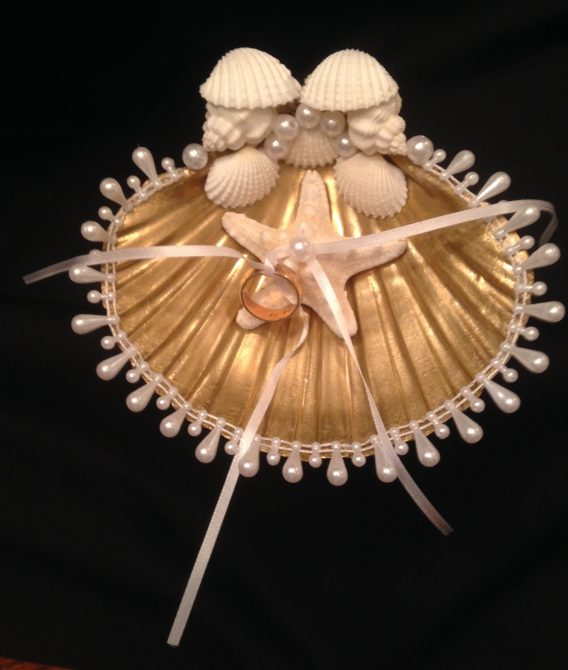 Gold Scallop Shell Ring Bearer
