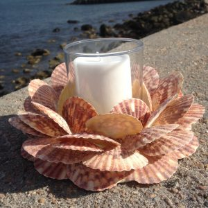 Scallop Shell Wreath with Candle