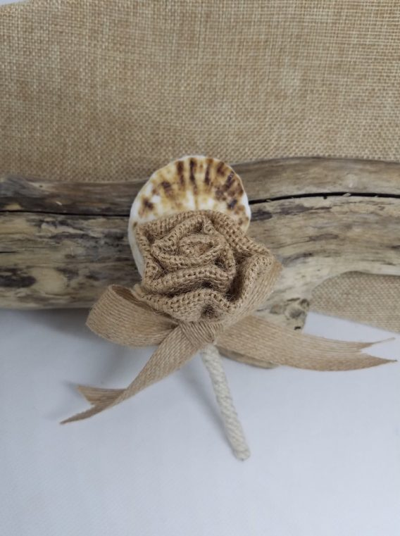 Burlap Rose and Oyster Boutonniere