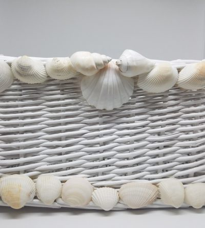 White Wicker Basket with White Shells