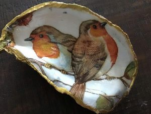 decoupaged oyster and clam shells