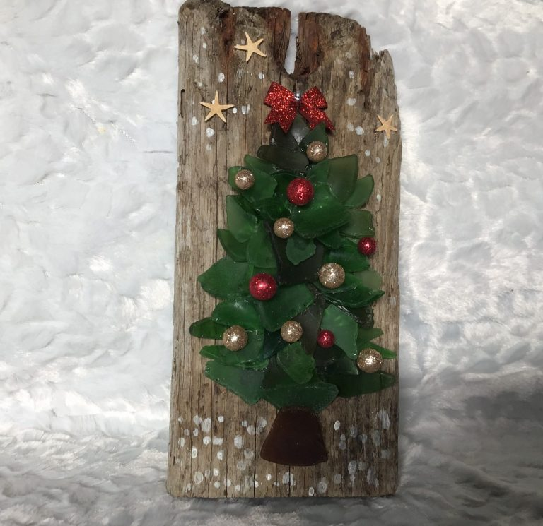 Seaglass Christmas Tree on Driftwood