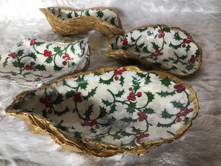 Decoupaged Nautical Christmas Dish in Gold or Silver
