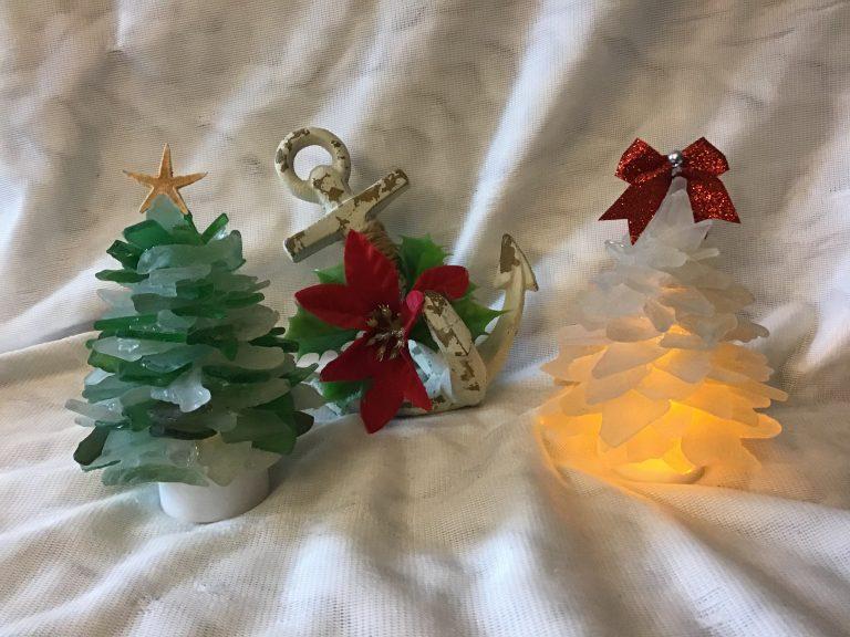Christmas Tree made of Seaglass with light